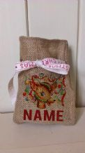 Personalized Decorated Reindeer Small Father Christmas Xmas Santa Sack / Stocking Bag Jute Hessian